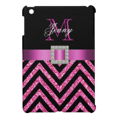 Hot Pink Black Chevron Glitter Girly Ipad Mini Cover at Zazzle