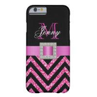 HOT PINK BLACK CHEVRON GLITTER GIRLY iPhone 6 CASE