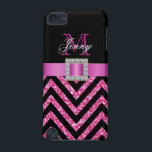 "HOT PINK BLACK CHEVRON GLITTER GIRLY iPod TOUCH (5TH GENERATION) COVER<br><div class=""desc"">This sophisticated, girly, monogrammed black and hot pink glitter chevron pattern, with a silk ribbon and diamonds is a photo PRINTED ON A FLAT SURFACE. Design by Elke Clarke&#169;2012. The design is made up of a zig zag chevron lines with glitter effect, a print of a hot pink satin ribbon...</div>"