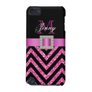 HOT PINK BLACK CHEVRON GLITTER GIRLY iPod TOUCH (5TH GENERATION) COVER