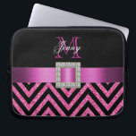 """HOT PINK BLACK CHEVRON GLITTER GIRLY LAPTOP SLEEVE<br><div class=""""desc"""">This sophisticated, girly, monogrammed black and hot pink glitter chevron pattern, with a silk ribbon and diamonds is a photo PRINTED ON A FLAT SURFACE. Design by Elke Clarke&#169;2012. The design is made up of a zig zag chevron lines with glitter effect, a print of a hot pink satin ribbon...</div>"""