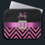 "HOT PINK BLACK CHEVRON GLITTER GIRLY LAPTOP SLEEVE<br><div class=""desc"">This sophisticated, girly, monogrammed black and hot pink glitter chevron pattern, with a silk ribbon and diamonds is a photo PRINTED ON A FLAT SURFACE. Design by Elke Clarke&#169;2012. The design is made up of a zig zag chevron lines with glitter effect, a print of a hot pink satin ribbon...</div>"
