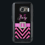 "HOT PINK BLACK CHEVRON GLITTER GIRLY OtterBox SAMSUNG GALAXY S7 CASE<br><div class=""desc"">This sophisticated, girly, monogrammed black and hot pink glitter chevron pattern, with a silk ribbon and diamonds is a photo PRINTED ON A FLAT SURFACE. Design by Elke Clarke&#169;. The design is made up of a zig zag chevron lines with glitter effect, a print of a hot pink satin ribbon...</div>"