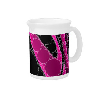 Hot Pink Black Circle Abstract Drink Pitcher