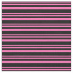 [ Thumbnail: Hot Pink & Black Colored Lines Pattern Fabric ]