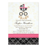 HOT PINK BLACK DAMASK BABY CARRIAGE BABY SHOWER 5X7 PAPER INVITATION CARD