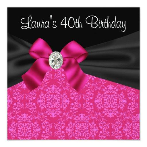 Hot Pink Black Damask Birthday Party Invitation