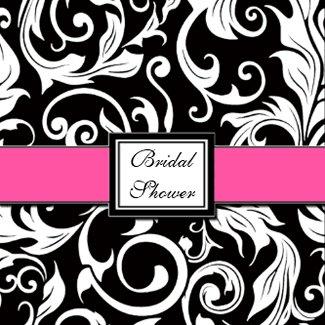Hot Pink & Black Damask Bridal Shower Invitations invitation
