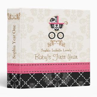 Hot Pink Black DAMASK Carriage Baby Photo Album Binder