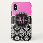 "Hot Pink Black Damask Monogram Name iPhone X Case<br><div class=""desc"">Trendy Girly Black and White Damask Pattern Monogrammed with Hot Pink Accent Color. Design by Elke Clarke. Other styles and colors available in our shop at www.zazzle.com/DamaskGallery</div>"