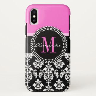 Hot Pink Black Damask Monogram Name iPhone X Case