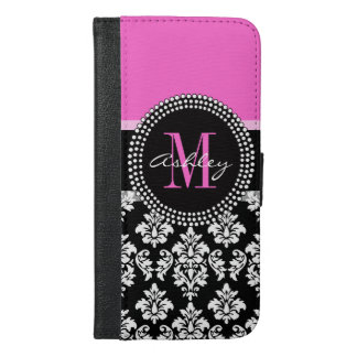 Hot Pink Black Damask Monogrammed iPhone 6/6s Plus Wallet Case