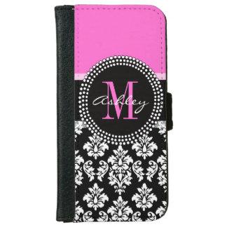 Hot Pink Black Damask Monogrammed iPhone 6/6s Wallet Case
