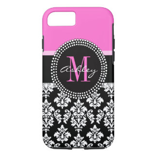 Hot Pink Black Damask Monogrammed iPhone 7 Case