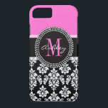 """Hot Pink Black Damask Monogrammed iPhone 8/7 Case<br><div class=""""desc"""">Trendy Girly Black and White Damask Pattern Monogrammed with Hot Pink Accent Color. Design by Elke Clarke &#169;. Other styles and colors available in our shop at www.zazzle.com/DamaskGallery</div>"""