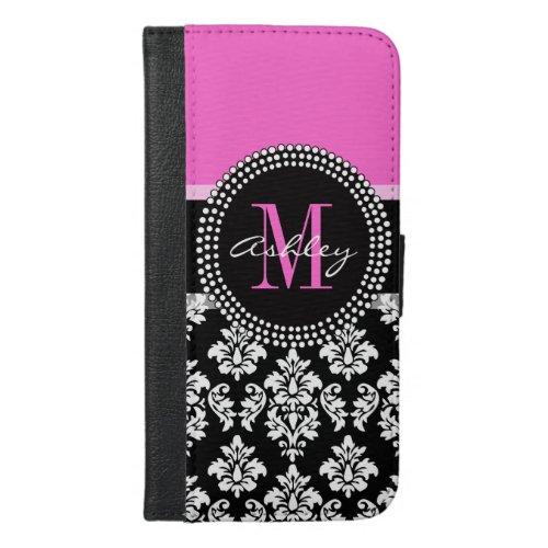 Hot Pink Black Damask Monogrammed Phone Case