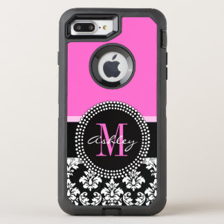 Hot Pink Black Damask Monogrammed OtterBox Defender iPhone 7 Plus Case