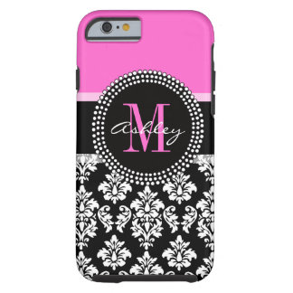 Hot Pink Black Damask Monogrammed Tough iPhone 6 Case