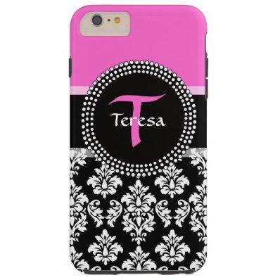 Hot Pink Black Damask Monogrammed Tough iPhone 6 Plus Case