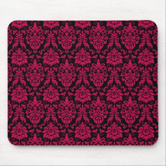 Hot Pink Black Damask Pattern Mouse Pad