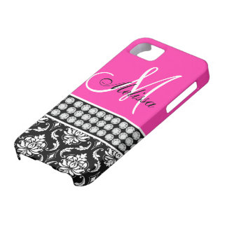 Hot Pink, Black Damask Printed Diamonds iPhone 5 Case