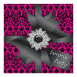 Hot Pink Black Damask Surprise Birthday Party Personalized Invitation