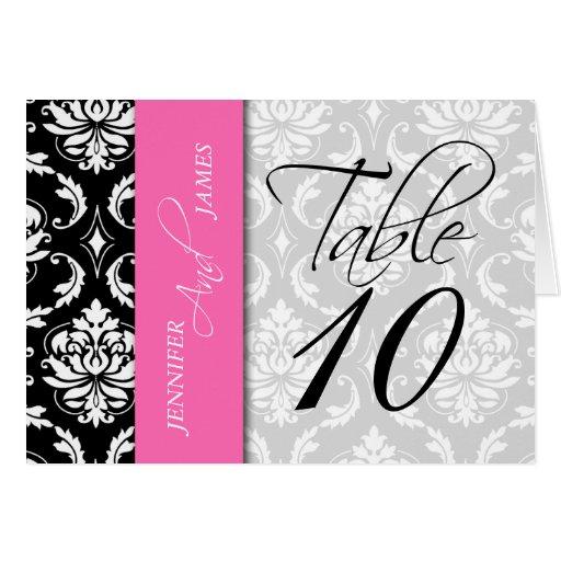 Hot Pink Black Damask Table Number Card Names