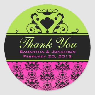Hot Pink & Black Damask w/ Green Wedding Labels