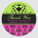 Hot Pink & Black Damask w/ Green Wedding Labels Classic Round Sticker