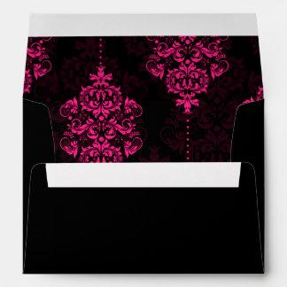 Hot Pink Black Damask Wedding Envelopes