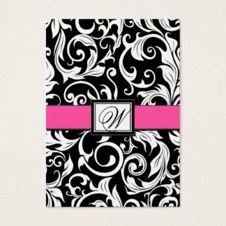 Hot Pink & Black Damask Wedding Reception Cards