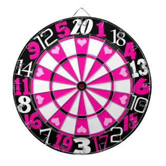 Hot Pink & Black Dartboard With Darts
