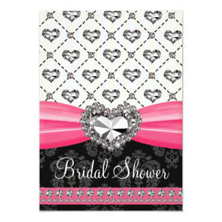 Hot Pink Black Diamond Heart Bridal Shower Invitat Card