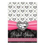 Hot Pink Black Diamond Heart Bridal Shower Invitat Announcements