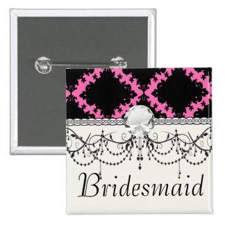 hot pink black diamond mod damask pins