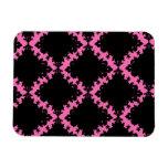 hot pink black diamond mod damask rectangular magnet