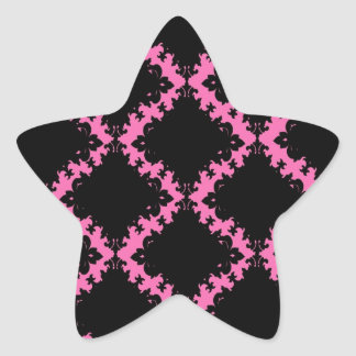 hot pink black diamond mod damask star sticker