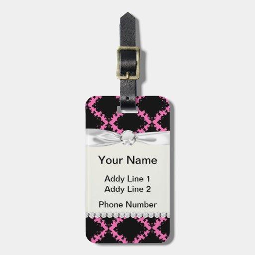 hot pink black diamond mod damask tag for luggage
