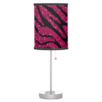 Hot Pink & Black Faux Glitter Zebra Animal Print Table Lamp