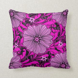 Hot Pink & Black Floral Chaos Throw Pillow