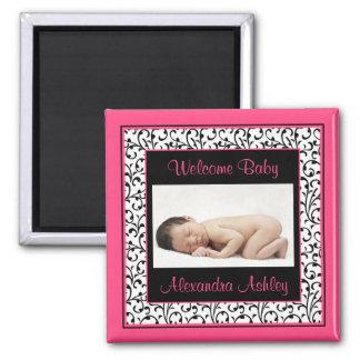 Hot Pink Black Floral Damask Baby Photo Magnet