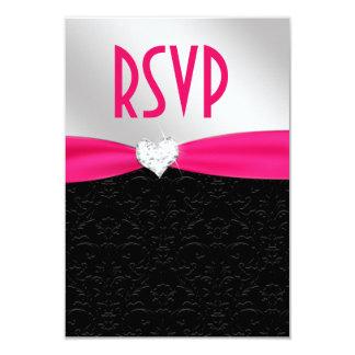 Hot Pink Black Floral Damask Diamond Heart RSVP Card