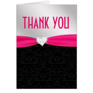 Hot Pink Black Floral Damask Diamond Thank You Card
