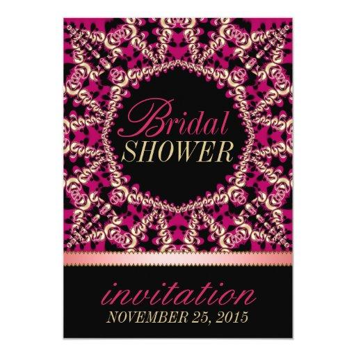 Hot Pink Black Flourish Bridal Shower Party Card