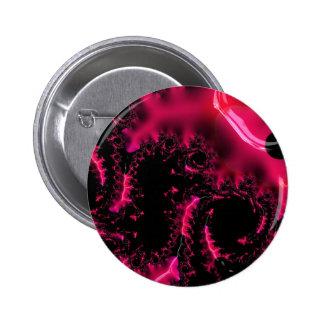 Hot Pink Black Fractal Art 2 Inch Round Button