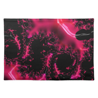 Hot Pink Black Fractal Art Placemat