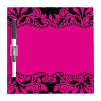 Hot Pink & Black Frieze & Majestic Hot Pink Frame Dry-Erase Boards