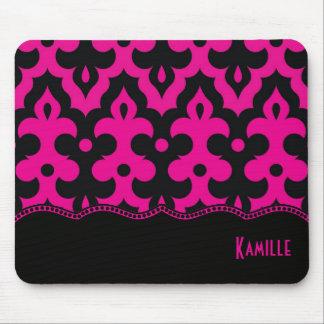 Hot Pink & Black Frieze Mouse Pad