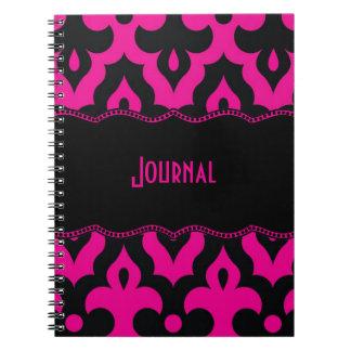 Hot Pink & Black Frieze Spiral Note Book