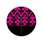 Hot Pink & Black Frieze Wall Clocks